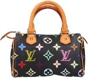 36987 Louis Vuitton Speedy Mini Monogram Multicolore Canvas in Schwarz Tasche, Handtasche