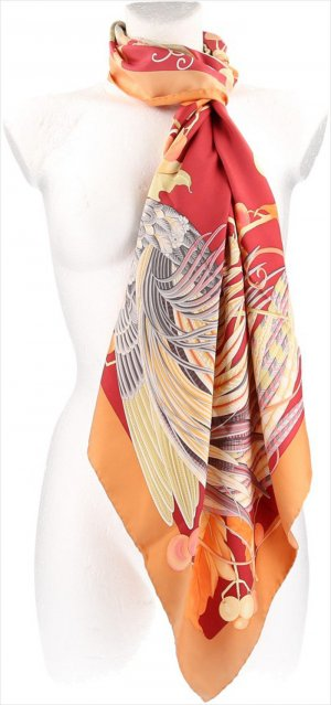Salvatore ferragamo Foulard orange-rouge clair soie