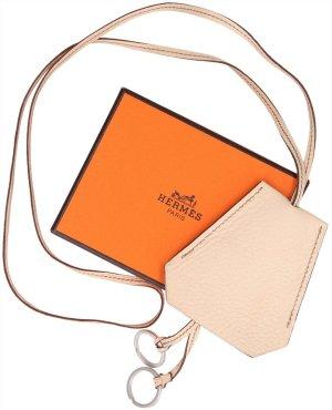 37044 Hermés lange Halskette Clochette aus Leder in Creme mit Box