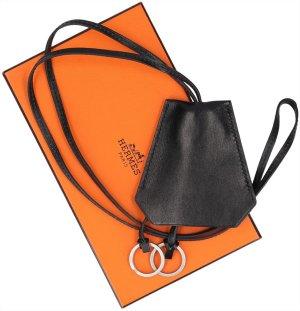 37085 Hermès lange Halskette Clochette aus Boxcalf Leder in schwarz mit Box