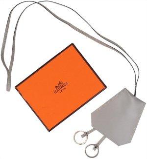 37343 Hermès lange Halskette Clochette aus Leder in Grau mit Box