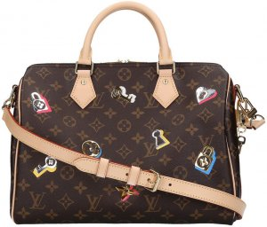37556 Louis Vuitton Speedy 30 Monogram Love Lock Canvas Handtasche - Tasche