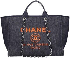 Chanel Handtas donkerblauw-oranje