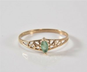 375er Gold Ring stein grün Goldring Juwelierstück facettierter Edelstein 9k 9ct 9kt edel