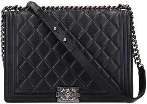 37825 Chanel Boy Handtasche, Tasche aus Lammleder in den Farben Schwarz und Silbergrau
