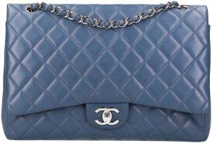 37986 Chanel CC Klassische Timless Flap Handtasche aus Lammleder in blau mit silberfarbenen Metallelementen