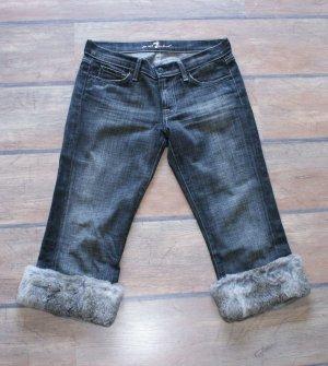 38/40 ~ 29 ~ 7 FOR ALL MANKIND ~ Jeans mit ABNEHMB. ECHT PELZ ~ Schwarz Vintage