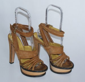 38,5 ETRO Riemchen Sandalette Pumps Plateau Haselnuss - Luxus Style