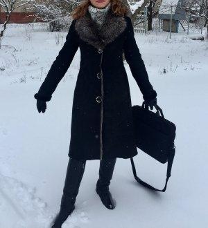 38 Gr Winter modische Jacke echtes Leder und Pelz
