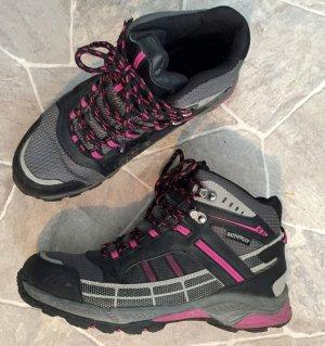 38 Stiefel Stiefeletten Wanderschuhe waterproof schwarz grau beere