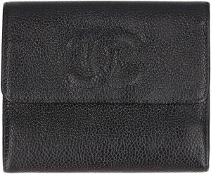 38112 Chanel CC Brieftasche Geldbörse aus genarbtem Kalbsleder in den Farben Schwarz und Gold