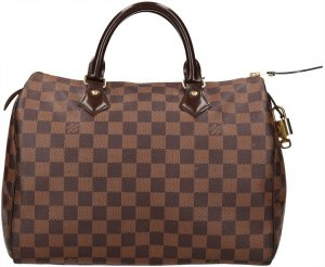 38124 Louis Vuitton Speedy 30 aus Damier Ebene Canvas Tasche, Handtasche, Henkeltasche