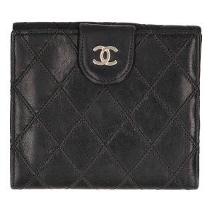 38214 Chanel CC Brieftasche, Geldbörse, Portemonnaie Leder in den Farben Schwarz und Gold