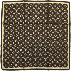Louis Vuitton Foulard en soie brun foncé soie