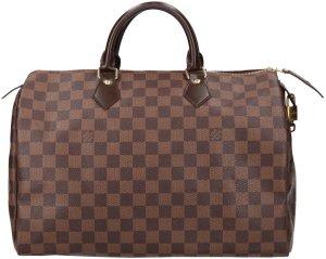 38277 Louis Vuitton Speedy 35 aus Damier Ebene Canvas Tasche, Handtasche, Henkeltasche