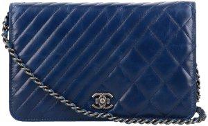 38298 Chanel CC Pochette aus geknautschtem Kalbsleder mit Kette aus silbergrauem Metall Tasche, Handtasche WOC Wallet on a Chain