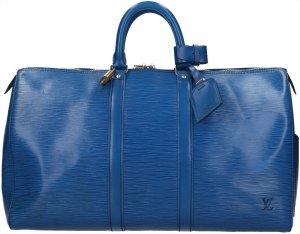 Louis Vuitton Sac de voyage bleu-doré cuir