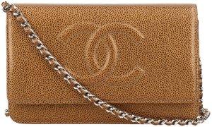 38318 Chanel CC Pochette aus genarbtem Kalbsleder mit Kette aus silberfarbenem Metall WOC Wallet on a Chain Tasche, Handtasche, Umhängetasche mit Box