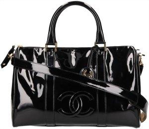 38358 Chanel CC Handtasche, Henkeltasche mit Schulterriemen aus Lackleder in Schwarz