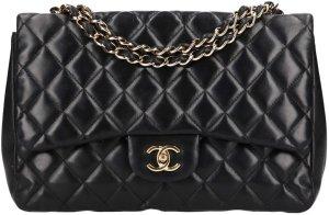 38361 Chanel CC große klassische Handtasche, Tasche aus Lammleder in schwarz mit goldfarbenen Metallelementen
