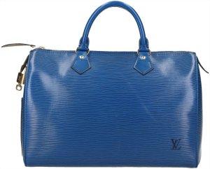 Louis Vuitton Sac à main bleu-doré cuir