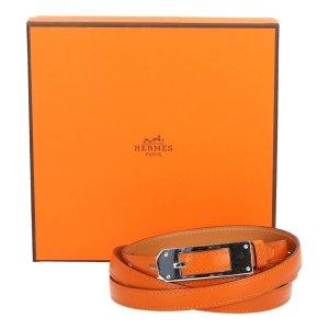 Hermès Lederen riem oranje-zilver Leer