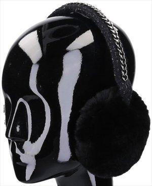 38491 Chanel Ohrenwärmer aus Tweed mit Ketten Detail
