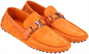 38969 Louis Vuitton Hockenheim Mokassin Schuhe aus Suede Leder in Orange Gr. 41,5