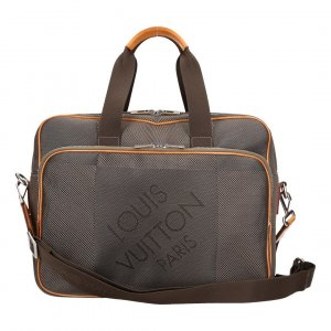 Louis Vuitton Sacoche d'ordinateur gris anthracite-brun