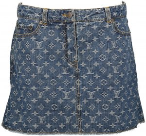 39465 Louis Vuitton Rock aus Monogram Denim in Blau in Größe FR 42 DE 40