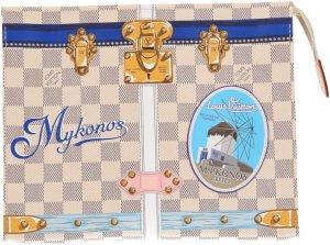 39515 Louis Vuitton Poche Toilette 26 Clutch, Handtasche, Tasche aus Damier Azur Canvas