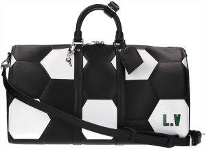 39528 Louis Vuitton Keepall 50 Fifa Wold Cup Edition Reisetasche, Weekender aus Epi Leder in Schwarz und Weiss mit Schulterriemen