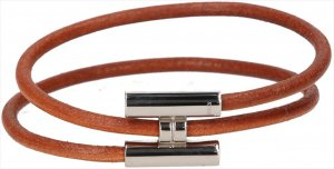 39619 Hermès Tournis Armband aus Leder und Metall in den Farben Braun und Palladium mit Box