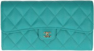 Chanel Wallet turquoise-gold-colored leather