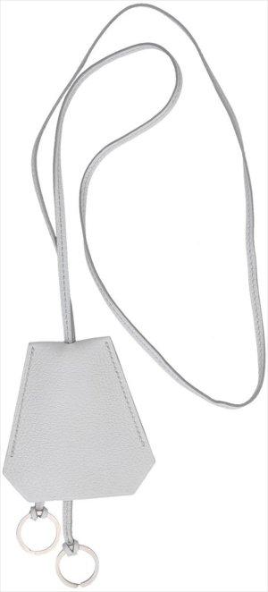 39703 Hermès lange Halskette Clochette aus Leder in bläulichem Grau mit Box
