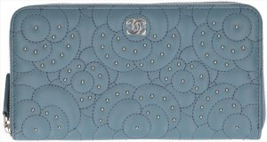 Chanel Wallet blue-silver-colored leather