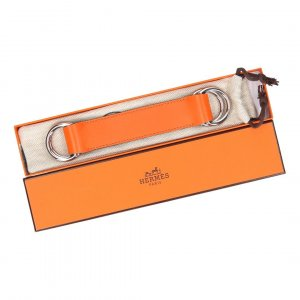 Hermès Belt Buckle orange-silver-colored leather
