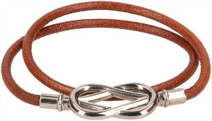 39731 Hermès Infinity Double Tour Armband aus Leder in den Farben Silber und Braun mit Box