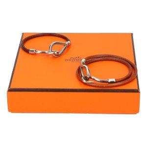 39734 Hermès Set Jumbo Double Tour Armband und Jumbo Single Tour Armband aus Leder in den Farben Braun und Silber mit Box