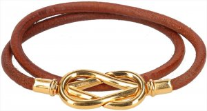 39736 Hermès Infinity Double Tour Armband aus Leder in den Farben Gold und Braun mit Box