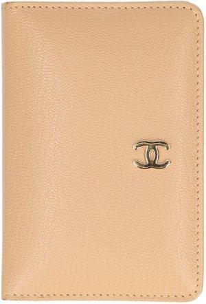 Chanel Kaartetui licht beige-goud Leer
