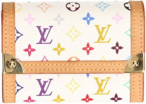 39994 Louis Vuitton Portemonnaie, Geldbörse Plat aus Monogram Multicolore Canvas in Blanc