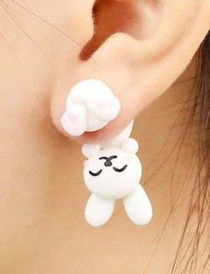 3D Hase Tier Ohrstecker Ohrringe weiß einfach süß Damen Mädchen Kids Schmuck