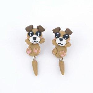 3D Hunde Ohrstecker Ohrringe braun einfach süß