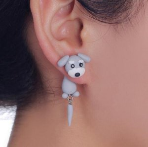 3D Hunde Ohrstecker Ohrringe grau