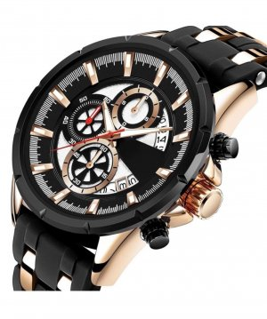 Digital Watch black-gold-colored stainless steel