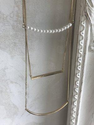 3er Kette gold mit Perlen