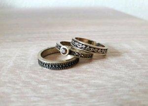 3er Ring-Set gold bronze schwarz