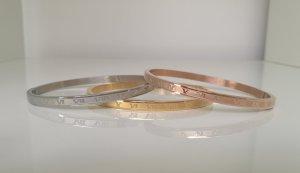 3er Set Armreifen Edelstahl Römische Zahlen gold silber rosegold