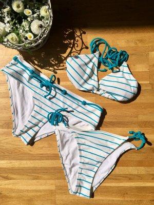 H&M Bikini azul claro-blanco poliamida